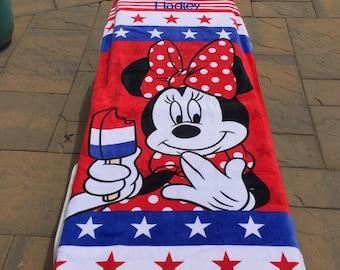 Americana Minnie MOUSE Beach Towel - Personalized Beach Towel