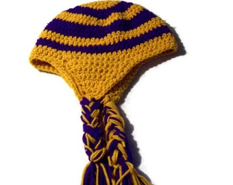 Braided Earflap Hat, Unisex, Large Size, Purple And Gold, Striped Crochet Cap