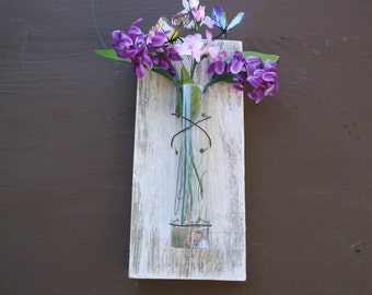rustic wall Sconces, Rustic, ,  Vase Sconce, Christmas gift, White Wall Sconce, Flower Vase Sconce, Shabby Chic Sconce, Wood Sconce.