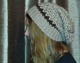 Two Toned Brown Slouchy Beanie
