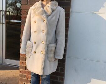Mod Faux Fur Coat 60s Princess Borgana Fairmoor Blonde Jacket 1960s Vintage S M