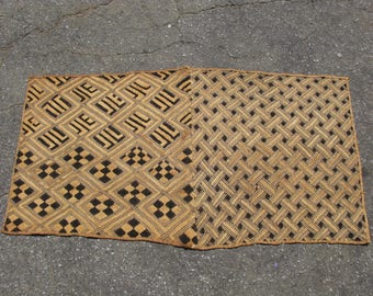 Vintage African raffia cloth Kuba People Shoowa Kasai velvet Congo skirt #3735