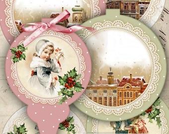 Christmas Baubles - digital collage sheet - set of 6 elements