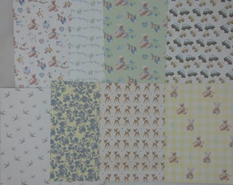 """Assortment of small 2 """"boy"""" patterned papers"""