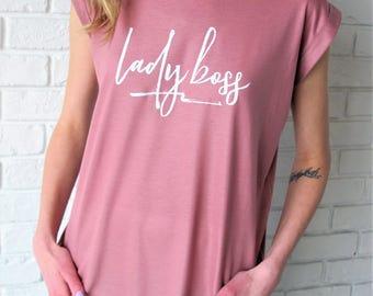 Lady Boss Tee // Lady Boss Blush Mauve Flowy T-Shirt // Lady Boss Shirt // Girl Boss Tee // Lady Boss Tee // Boss Gifts // Mauve Tee