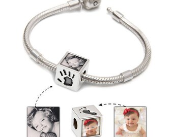 Bespoke Picture Bracelet | Handprints bracelet | Photo charm & Bracelet set | Pandora Compatible | Handmade in the UK | Takes 2 photos