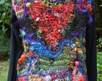 """Vest in freeform crochet created with only handspun art yarns """" My heart """""""