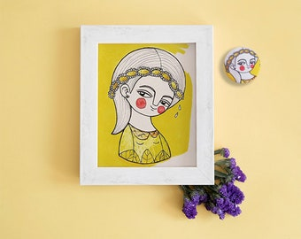 Yellow gray nursery, daisy card, girl postcard and brooch, nursery art, yellow nursery decor, yellow postcards set, tiny illustration print