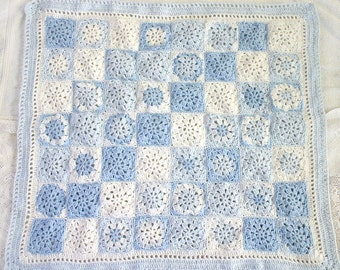 Blue Baby Blanket- Crocheted Granny Squares- Baby Shower- Made To Order- Blue, White- Newborn