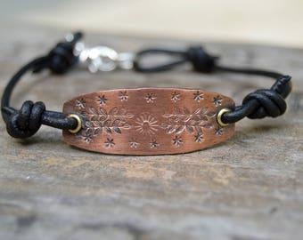 Flower Stamped Copper Sterling Bracelet . Rustic . Leather . Boho . Sterling Flower. Handmade . NinandBumm
