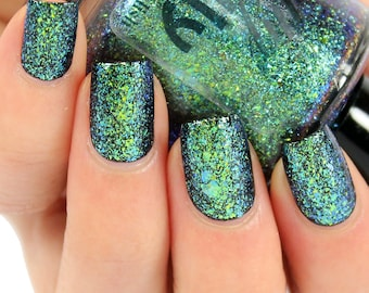 Nail Polish, Indie Nail Lacquer, Flakie Glitter, Multichrome Flake, Green Nails, Color Changing, Vegan Cosmetics, Custom Varnish, SOMERSAULT