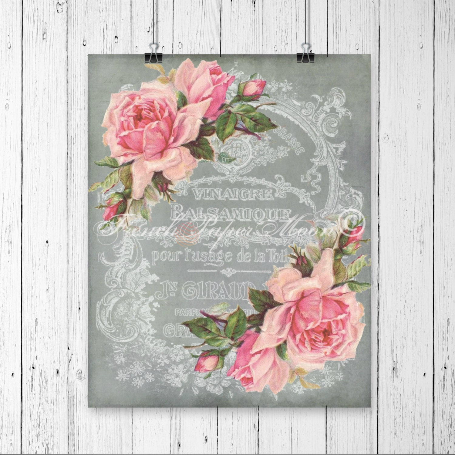 Digital Download Vintage French Graphics Shabby Pink Roses Ephemera Collage Pillow Image