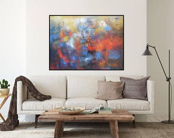 Abstract oil canvas 30x40, or giclee prints, Modern abstract wall art, contemporary bright canvas, gallery wall art, red blue paintings oil