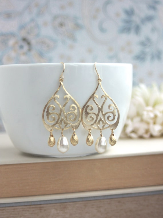 Gold moroccan boho filigree ivory pearls chandelier earrings aloadofball Images