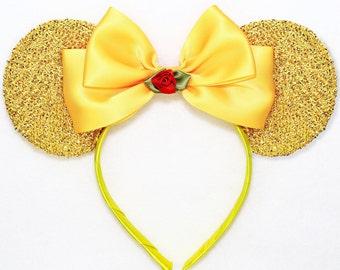Beauty and the Beast Ears Gold Minnie Mouse Ears Headband Red Flower Rose Disney Ears Mickey Mouse Ears Belle Ears Beauty Ears Women Girls