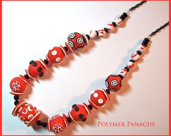 """Chunky Necklace Red Black White Polymer Clay Handcrafted 18"""" Statement Necklace Large Bead Necklace"""