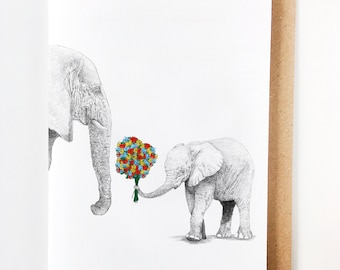 Mama Elephant & Calf   Sweet Mother's Day Card, Mom Birthday Card, Handmade, Fête des mores, Madre, Muttertag, Card for mom, Thanks Mom
