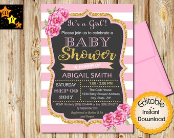 Flower Baby Shower Invitation, Girl Baby Shower Invite, Shabby Chic Flowers, Pink and Gold, Floral, Instant Download, Editable, Printable