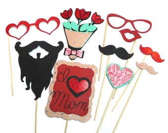 Photo Booth Props - Set of 10 Mothers Day Themed Photo Booth Props
