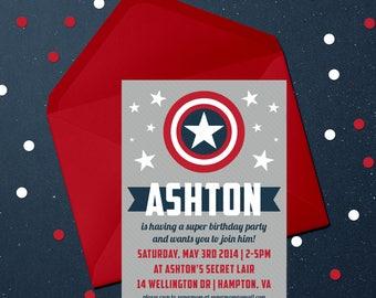 Printable Invite, Digital Invite, Birthday Invite, Party Invite, Superheroes, Superhero, Captain America Invite, Captain America Birthday