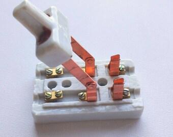 Small Frankenstein Switch Copper Knife, Porcelain Glazed | Retro Industrial Cyberpunk Supplies | Steampunk Vintage Accessory Antique, NOS