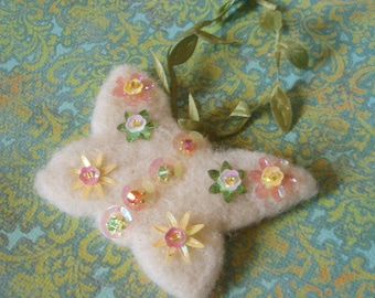 Butterfly Ornament - Swarovski Crystal Beaded and Sequined Needle Felted Sparkling Wool Ornament - Christmas or Spring Hanging Decoration