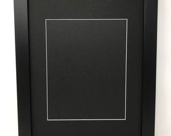 """11x14 1.25"""" Black Solid Wood Picture Frame with Black Mat Cut for 8x10 Picture"""