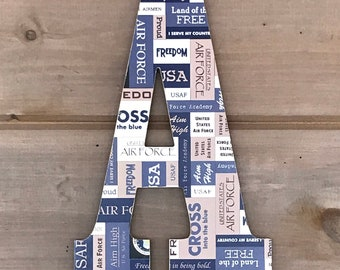 """12"""" US Air Force Wall Art, Air Force Letter, USA Air Force, Military, Gallery Wall, Letter Art, Hanging Letter, Decorated Letter,Wall Letter"""
