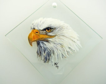 Hand Painted Glass Ornament - Bald Eagle