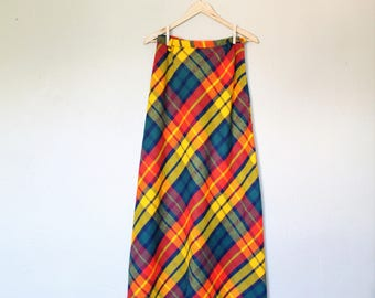 1970s Vintage Plaid Maxi Skirt