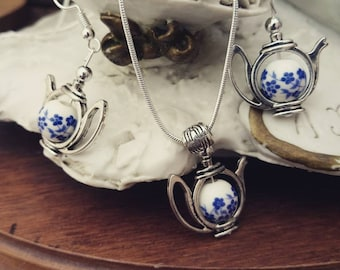 Teapot Earrings and Necklace Set - Blue Flower