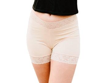 Beige Biker Hosen formende Unterwäsche nackt Spitze Shorts
