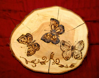 """Butterfly Woodburning, pyrography """"Butterflies are Free"""""""