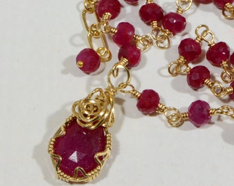 Ruby Necklace Wire wrapped with 14k gold Filled Ruby Necklace Ruby Pendant Wire wrapped Jewelry