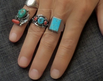 SARAH CURLEY Vintage Native American Turquoise RING Natural Coral Sterling Band, Navajo Mens Jewelry Rings, Size 10, 1970s, Gift for Him
