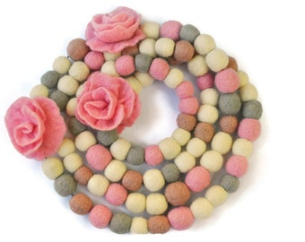 Felt necklace roses, Scarf-necklace  Pink roses  wool felts gray