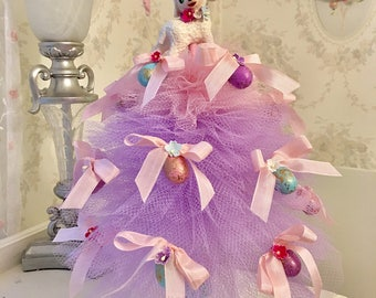 Pastel Vintage Inspired Easter Tree with Vintage Lamb Topper