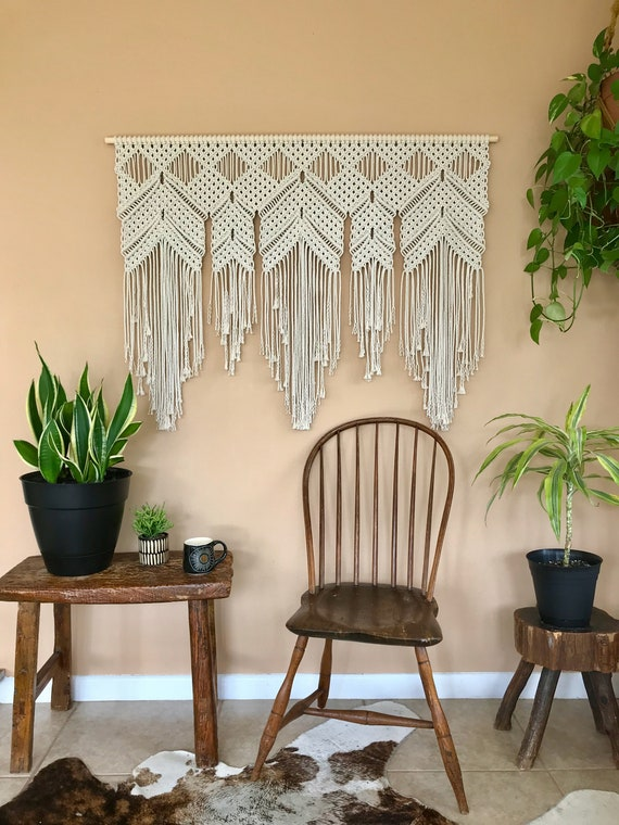 large macrame wall hanging bedroom nursery decor boho large macrame wall hanging white cotton boho