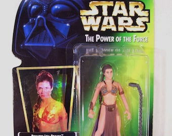 Vintage New Star Wars Power of the Force Princess Leia as Jabba's Prisoner Action Figure, Slave Outfit, Kenner 1997