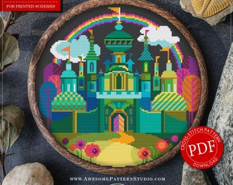 Modern Cross Stitch Pattern of Wizard of Oz City for Instant Download *P117 | Easy Cross Stitch| Counted Cross Stitch|Embroidery Design
