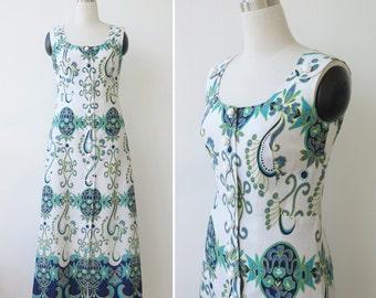 1960s Mod Dress White Sheath Dress Button Front Long Dress Womens Wiggle Paisley Sleeveless Dress Blue Ocean Tones Dress Spring Summer