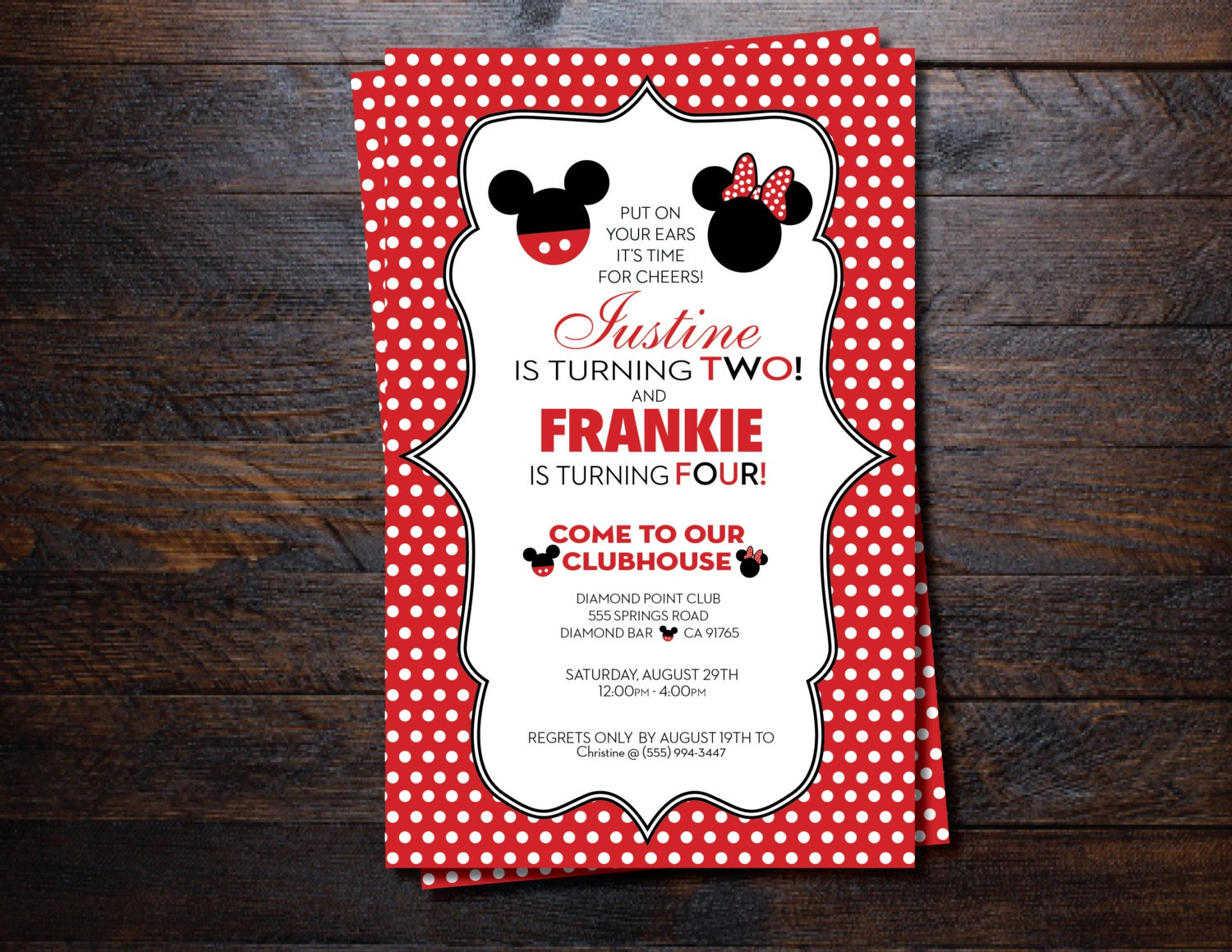 Mickey Mouse and Minnie Mouse birthday Invitations for twins/