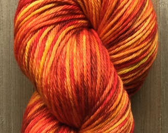Hand Dyed Yarn, Worsted Weight 4ply, 100% Superwash Merino Wool, Sunburst 2 on Hearty Worsted Yarn