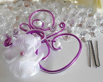 Orchid purple wedding fascinator
