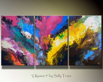 Large Original Art Abstract Acrylic Painting, Fluid Pour Painting, Original Painting, Triptych Painting, Made-To-Order, 36x72 inches