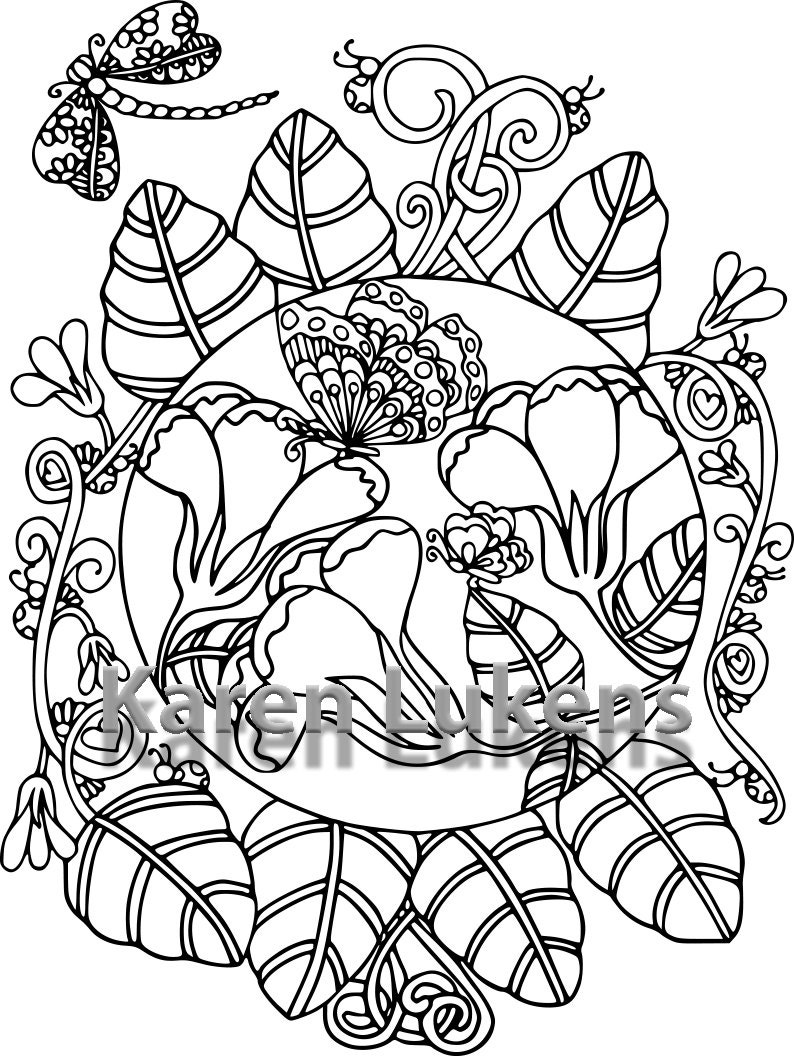 Butterfly Garden 5 1 Adult Coloring Book Page Printable Instant Download