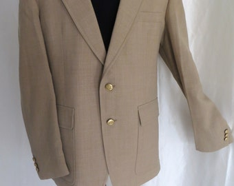 Mens vintage 80s sportcoat, sportsjacket, blazer, suit jacket, Spring Summer, camel tan, two button, size 42 44