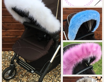 Pram hood faux fur trim for all prams! FREE POSTAGE For bugaboo, icandy, stokke, silver cross, egg and more