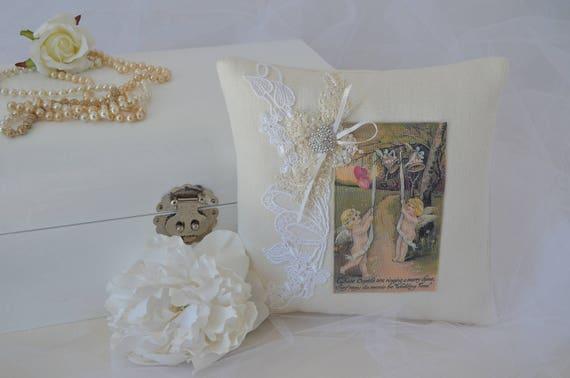 "Wedding Ring Bearer Pillow ""Wedding Time"""