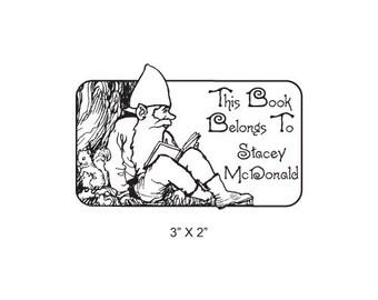 Gnome Reading a Book Storybook Series Custom Ex Libris Bookplate Rubber Stamp J33